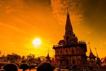 Sonnenuntergang, Thailand Tempel