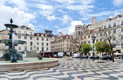 Brunnen Rossio Platz - Lissabon - Portugal