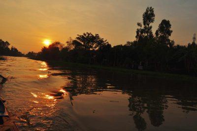 Vietnam Kreuzfahrt -Sonnenuntergang am Mekong - Vietnam