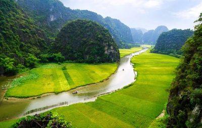 Vietnam Rundreise - Fluss und Reisfeld - Ninh Binh
