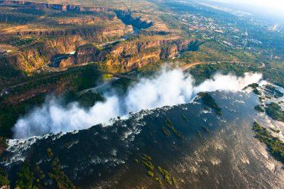 Namibia Abenteuerreise - Namibia Botswana Rundreise - Victoria Falls aus der Luft - Livingstone Victoria Falls - Zambia Zimbabwe