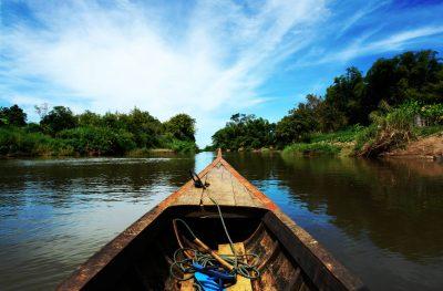 Blick aus dem Boot - Mekong - Laos